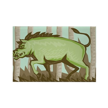 Razorback Wild Pig Boar Attacking Rectangle Magnet