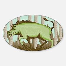 Razorback Wild Pig Boar Attacking Sticker (Oval)
