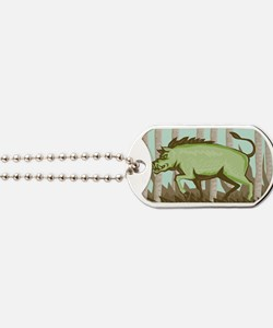 Razorback Wild Pig Boar Attacking Dog Tags