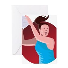 netball player passing ball retro Greeting Card