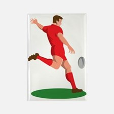 Rugby player kicking ball Rectangle Magnet