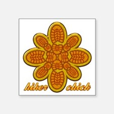 "Hiker Chick orange copy Square Sticker 3"" x 3"""