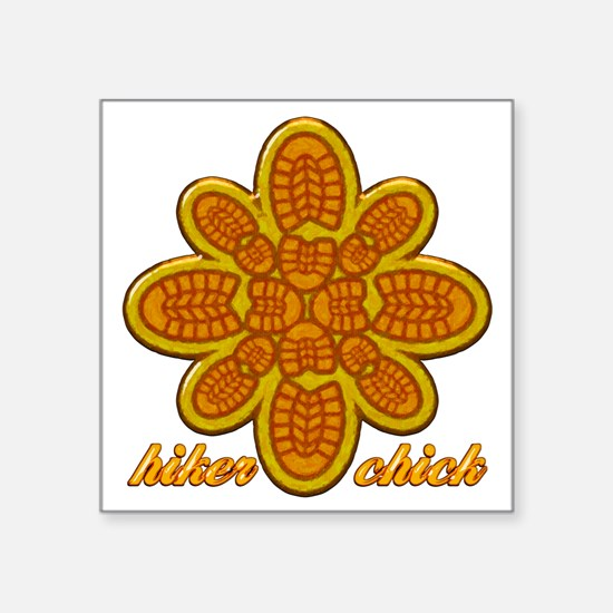 "Hiker Chick orange copy Square Sticker 3"" x 3"""