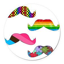 Mustache Round Car Magnet