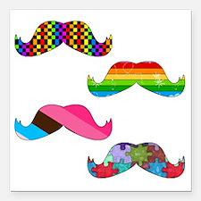 "Mustache Square Car Magnet 3"" x 3"""