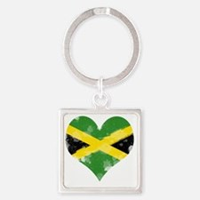 A Jamaican Heart Square Keychain