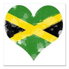 "A Jamaican Heart Square Car Magnet 3"" x 3"""