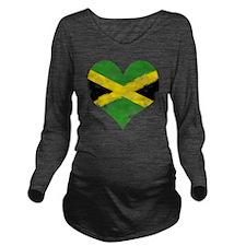 A Jamaican Heart Long Sleeve Maternity T-Shirt