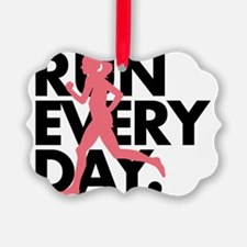 Pink/Black Run Every Day Ornament