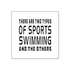 """Swimming Designs Square Sticker 3"""" x 3"""""""