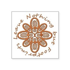 """Wood Grain Boot Footprints Square Sticker 3"""" x 3"""""""