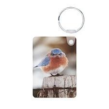 mad blue bird Aluminum Photo Keychain