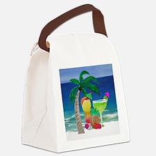 Tropical Drinks on the beach Canvas Lunch Bag