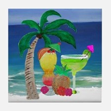 Tropical Drinks on the beach Tile Coaster