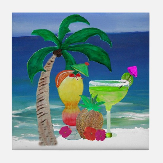 Tropical Drinks on the beach Tile Coaster