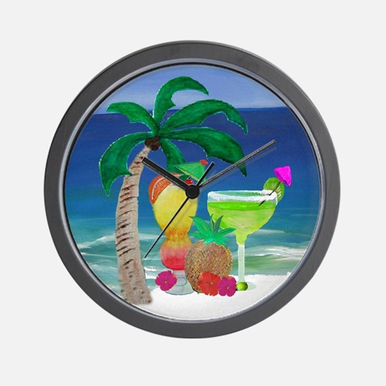 Tropical Drinks on the beach Wall Clock