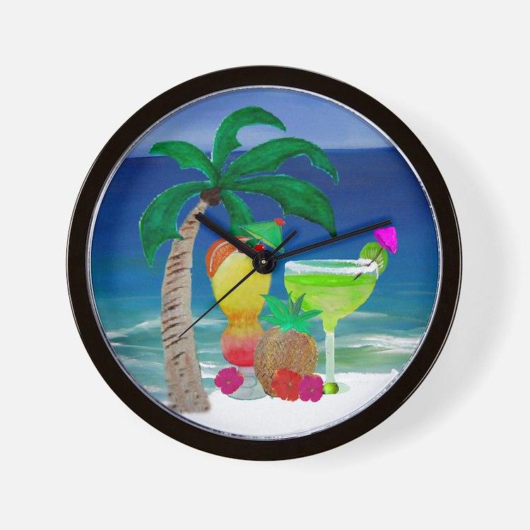 Tropical Drinks on the beach Wall Clock