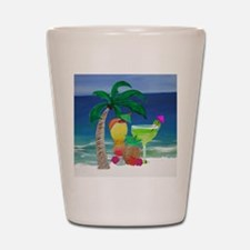Tropical Drinks on the beach Shot Glass