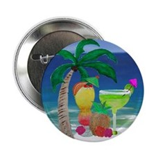 """Tropical Drinks on the beach 2.25"""" Button"""