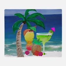Tropical Drinks on the beach Throw Blanket