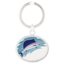 sailfish jumping retro style Oval Keychain