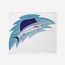sailfish jumping retro style Throw Blanket