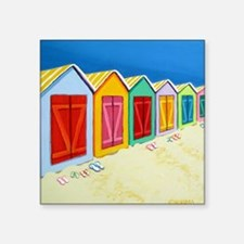 "Cabana Row Beach Huts Pillo Square Sticker 3"" x 3"""