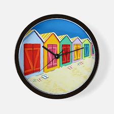 Cabana Row Beach Huts Pillow Wall Clock
