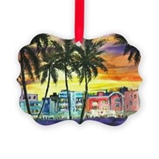 South Beach Neon Sunset Ornament