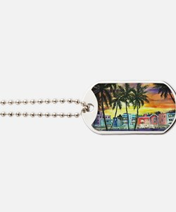 South Beach Neon Sunset Dog Tags
