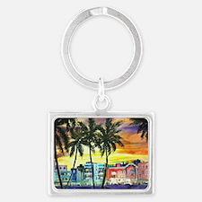 South Beach Neon Sunset Landscape Keychain