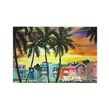 South Beach Neon Sunset Rectangle Magnet