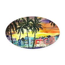 South Beach Neon Sunset Oval Car Magnet