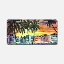 South Beach Neon Sunset Aluminum License Plate