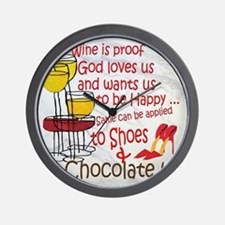 wine shoes and chocolate Wall Clock