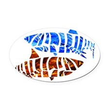 blue shark Oval Car Magnet