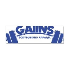 GAIINS Barbell Logo Blue Car Magnet 10 x 3