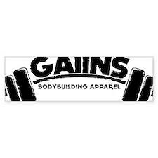 GAIINS Barbell Logo Black Bumper Sticker