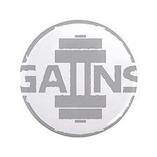 """GAIINS Cog Logo Grey 3.5"""" Button"""