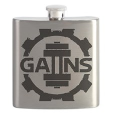 GAIINS Cog Logo Black Flask