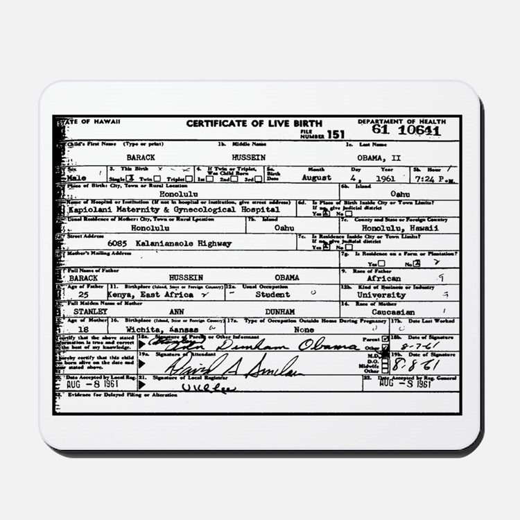 Obama Birth Certificate Mousepad