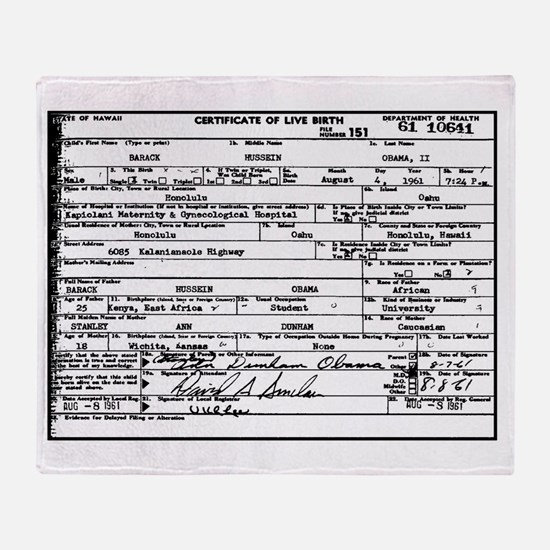 Obama Birth Certificate Throw Blanket