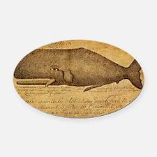 Vintage Whale Print Oval Car Magnet