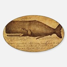 Vintage Whale Print Sticker (Oval)