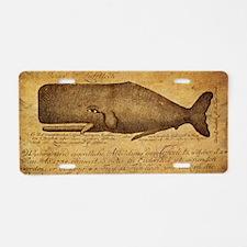 Vintage Whale Print Aluminum License Plate