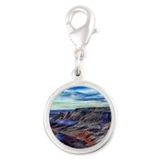painted desert Silver Round Charm