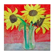 Sunflower Vase Tile Coaster