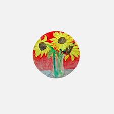 Sunflower Vase Mini Button