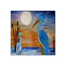 "Blue Heron Square Sticker 3"" x 3"""