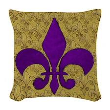 Purple Fleur de lis on gold Woven Throw Pillow